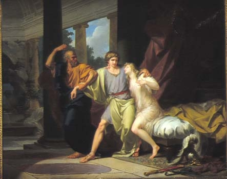 Socrates snatching Aciabiades from the arms of Aspasiu