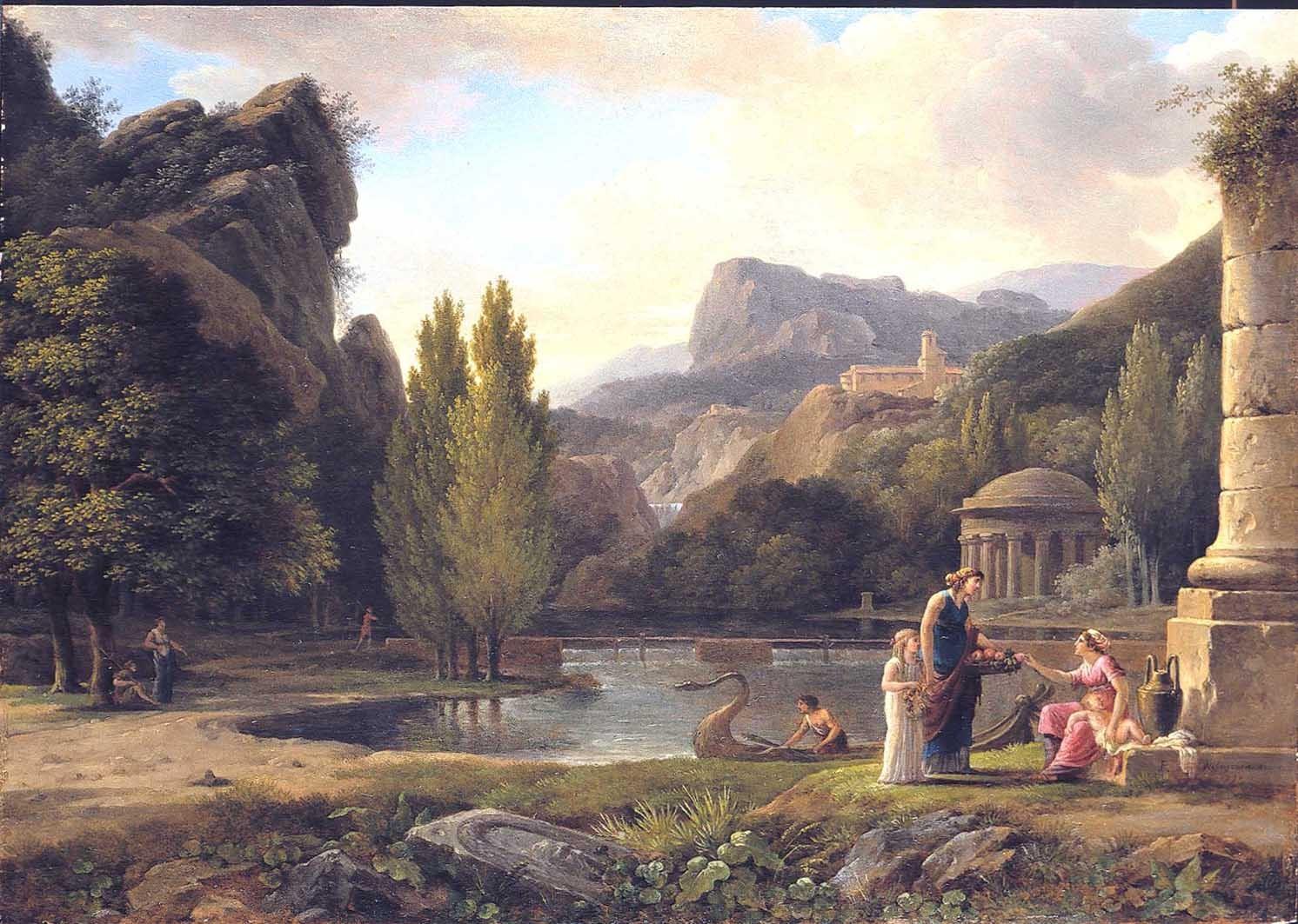 Ruines antiques dans un paysage classique
