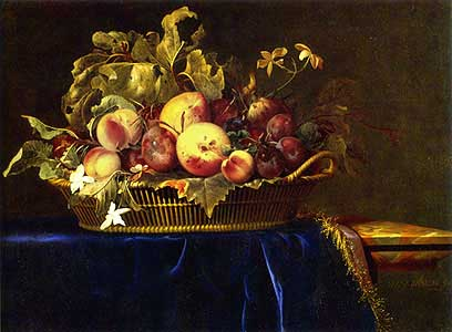 A Still life with a Basket of Peaches and a fig standing on a Blue Velvet Cloth laid on a Marble Ledge