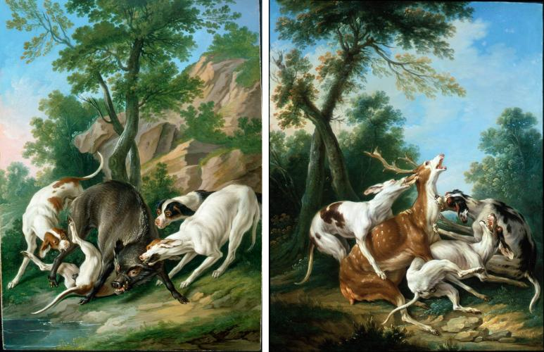 Boar Hunt & Stag  Hunt (Paintings are paired)
